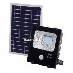 Proiector LED 20W Alb Rece cu Panou Solar si Senzor de Miscare WT