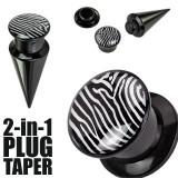 Plug și taper negre, cu motiv zebră - Lățime: 4 mm