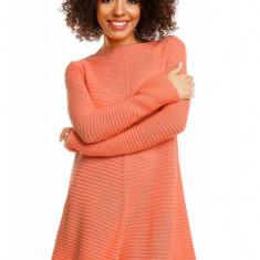 Pulover pentru femei, tricotat, lung, asimetric, portocaliu - 30046