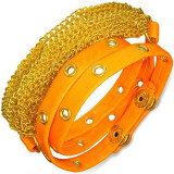 Brățară din piele artificială - lanţuri aurii, bandă portocaliu neon