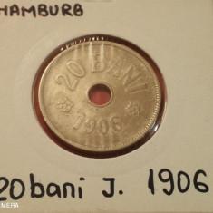 Romania 20 bani 1906 Hamburg J in cartonas