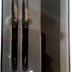 "Set stilou+pix+etui CRESCO EXCLUSIVE ""S"", metalic 8301471, model ES-03 negru, cutie cadou"
