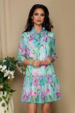 Cumpara ieftin Rochie Pretty Girl turcoaz din voal cu print floral si guler tip esarfa
