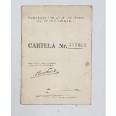 CARTELA DE ALIMENTE , ELIBERATA DE SUBSECRETARIATUL DE STAT AL APROVIZIONARII , PERIOADA POSTBELICA
