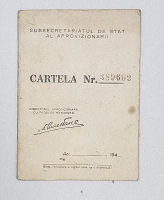 CARTELA DE ALIMENTE , ELIBERATA DE SUBSECRETARIATUL DE STAT AL APROVIZIONARII , PERIOADA POSTBELICA foto