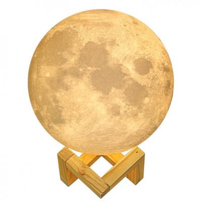 Lampa Veghe Luna Moon imprimata 3D, Lumina Ambientala Multicolora cu LED, Well foto