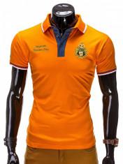 Tricou pentru barbati polo, portocaliu, logo piept, slim fit, casual - S505 foto