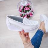 Pantofi dama Piele cu platforma albi Vasimia-rl
