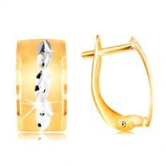Cercei din aur de 14K - bandă cu suprafața mată, aur alb și crestături