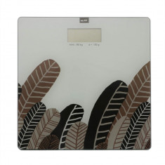 Cantar digital de baie MSV Vintage, display LCD, 1xCR 2032 3V, 180 kg, imprimeu cu frunze, Multicolor