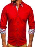 Cumpara ieftin Cămașă elegantă pentru bărbat în dungi cu mâneca lungă roșie Bolf 4704, Maneca lunga