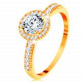 Cumpara ieftin Inel din aur galben de 14K - zirconiu transparent înconjurat cu zirconii mici - Marime inel: 63