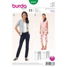 Tipar de pantaloni clasici Burda Style 6668 cu mici fante laterale