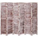 Paravan de cameră cu 6 panouri, maro, 210 x 165 cm, lemn