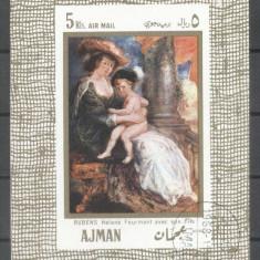 Ajman 1968 Paintings, Rubens, imperf.sheet, used AF.022