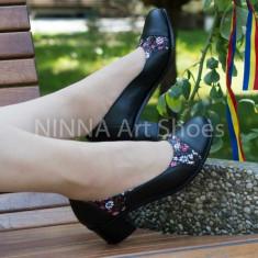 Pantofi dama din piele naturala de culoare neagra Ninna Art 311