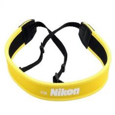 Curea pentru DSLR Nikon din neopren - elastica si antialunecare - galbena