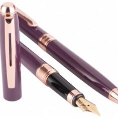 Cadou Business Woman Dark Purple Pix si Stilou Penita Placata Aur 18 K