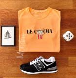 Tricou dama bumbac fin 100% orange cu imprimeu CINEMA