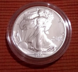 Moneda de argint 1 uncie proof American Eagle 1991 cutie originala cu certificat