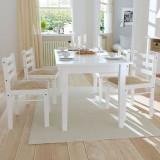 vidaXL Scaune de bucătărie, 4 buc., alb, lemn masiv hevea & catifea