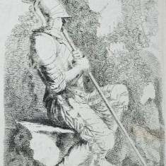 "Savator Rosa ""Soldat in armura"" gravura veche sec 17"
