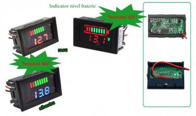 Voltmetru Auto indicator nivel baterie 12V sau 48V foto