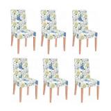 Set 6 huse scaun dining/bucatarie, din spandex, model floral, multicolor, Springos