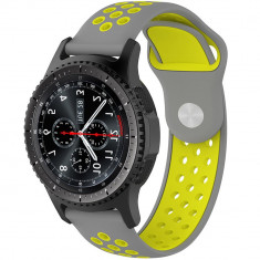 Curea ceas Smartwatch Samsung Gear S3, iUni 22 mm Silicon Sport Grey-Yellow