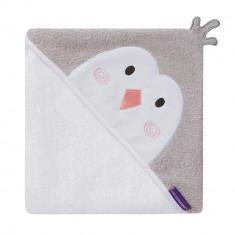 Prosop de baie pentru bebelus si mama Bamboo Penguin white Clevamama for Your BabyKids