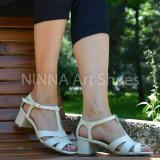 Sandale dama crem, din piele naturala toc 5cm - NAA55CREM