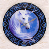 Ceas de perete din sticla Unicorn Celtic - Anne Stokes