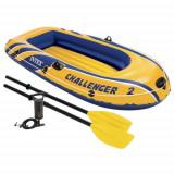 Set barca gonflabila / pneumatica Intex 68367 Challenger 2, pentru 2 persoane, 236 x 114 x 41 cm + vasle + pompa manuala