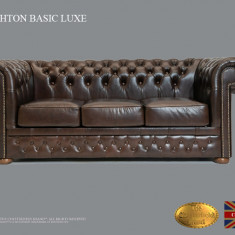 Canapea Chesterfield Basic Lux ,Cloudy Dark Brown ,3 locuri,Piele naturală