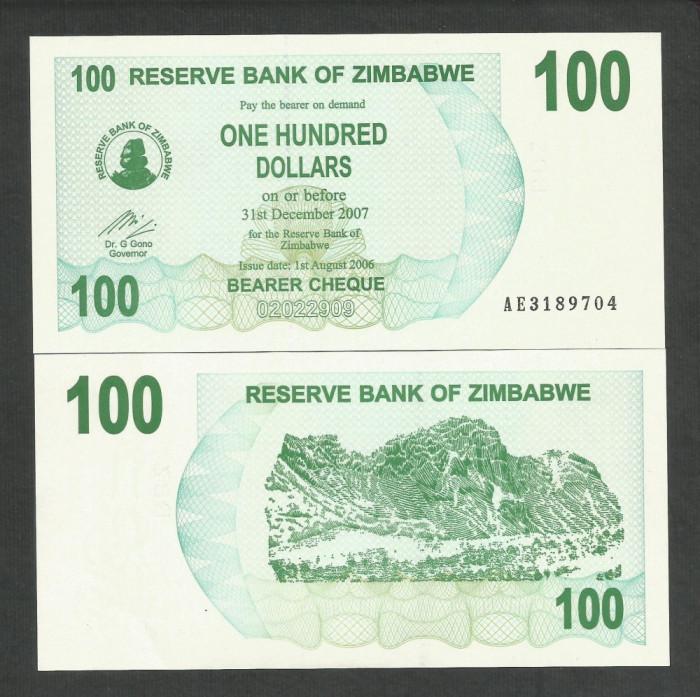 ZIMBABWE  100  DOLARI  DOLLARS  2006   2007  UNC   [1]  P- 42  ,  necirculata