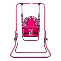 Leagan pentru copii Top Kids cu spatar reglabil Pink Flowers