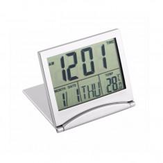 Termometru, ceas si calendar, digital, pentru interior, culoare argintiu