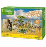 Cumpara ieftin Puzzle 3D + Brosura Animale Salbatice, 69 piese, CubicFun