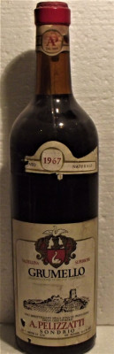 89 -VIN grumello doc, pellizzati, recoltare 1967 cl 72 gr 12,5 foto