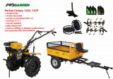 Cumpara ieftin Pachet motocultor Campo 1303, benzina, 13CP, 2+1 trepte, remorca 500kg, accesorii, ulei motor si transmisie incluse