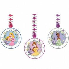 3 Decoratiuni Party spirale metalizate Disney Princess Party