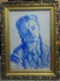 Portret fata// ulei pe carton, semnat indescifrabil, Arbori, Altul