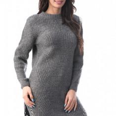 J928-181 Rochie tricotata cu maneci lungi si despicaturi laterale