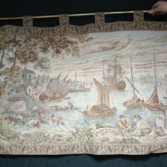Superbă tapiserie lucrata integral manual scena galanta