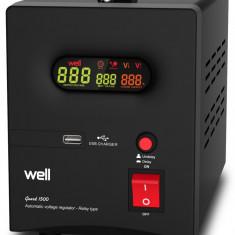 Stabilizator automat de tensiune cu releu 1500VA negru Well