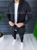 Cardigan barbati gri inchis slim fit ZR T3596