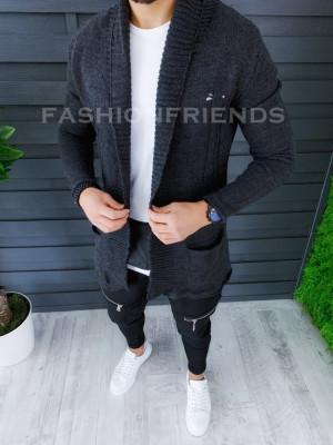Cardigan barbati gri inchis slim fit ZR T3596 foto
