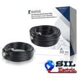 Cablu coaxial securitate RG59 cu alimentare 30.0 m Konig