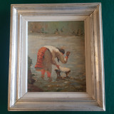 PAUL UZUM - SPALATOREASA LA RAU -ulei / panza, Natura, Realism