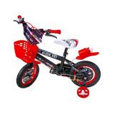 Bicicleta copii 12 inch cu pedale si roti ajutatoare Rosu